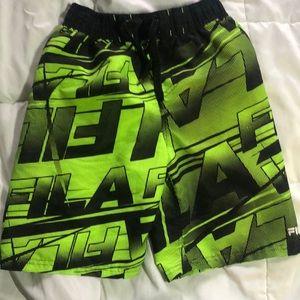 4/$25 Fila Neon Green/Black Boy's Swim Shorts
